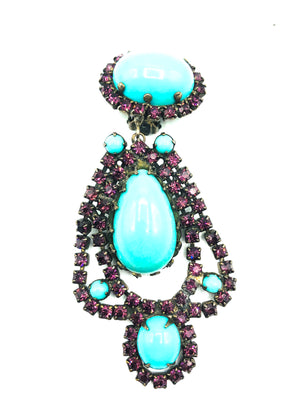 Kenneth Jay Lane 60s Turquoise and purple Chandelier Earrings 2 of 4