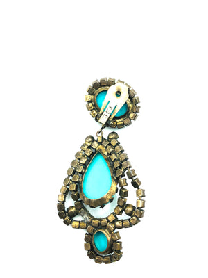 Kenneth Jay Lane 60s Turquoise and purple Chandelier Earrings 3 of 4