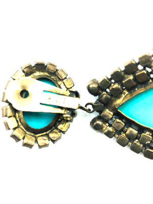 Kenneth Jay Lane 60s Turquoise and purple Chandelier Earrings 4 of 4