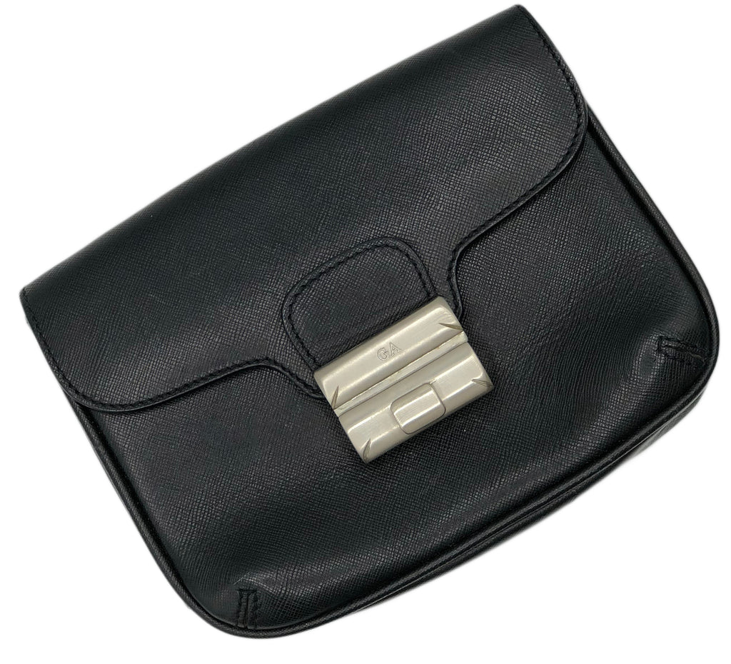 Armani 2000s Black Leather  Belt Bag Front 1 or 3