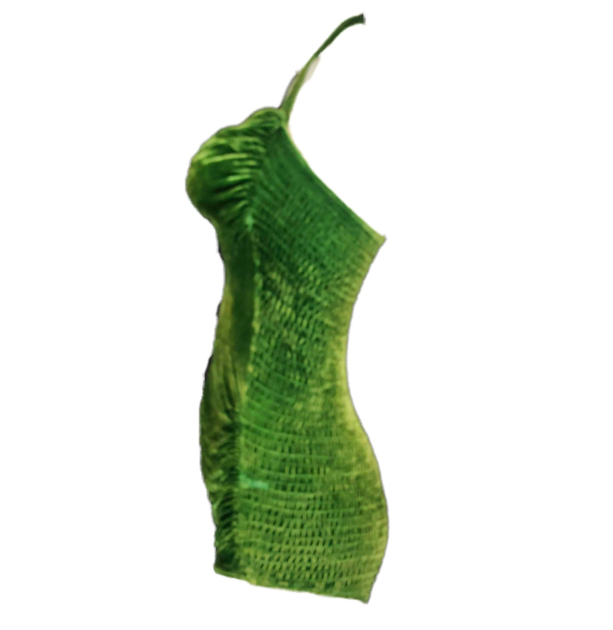 50s Green Velvet Glamour Bathing Suit SIDE 2 of 5
