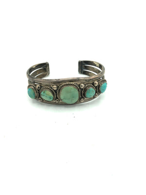 Native American Heavy Silver Cuff with Graduated Turquoise Stones 3 of 4