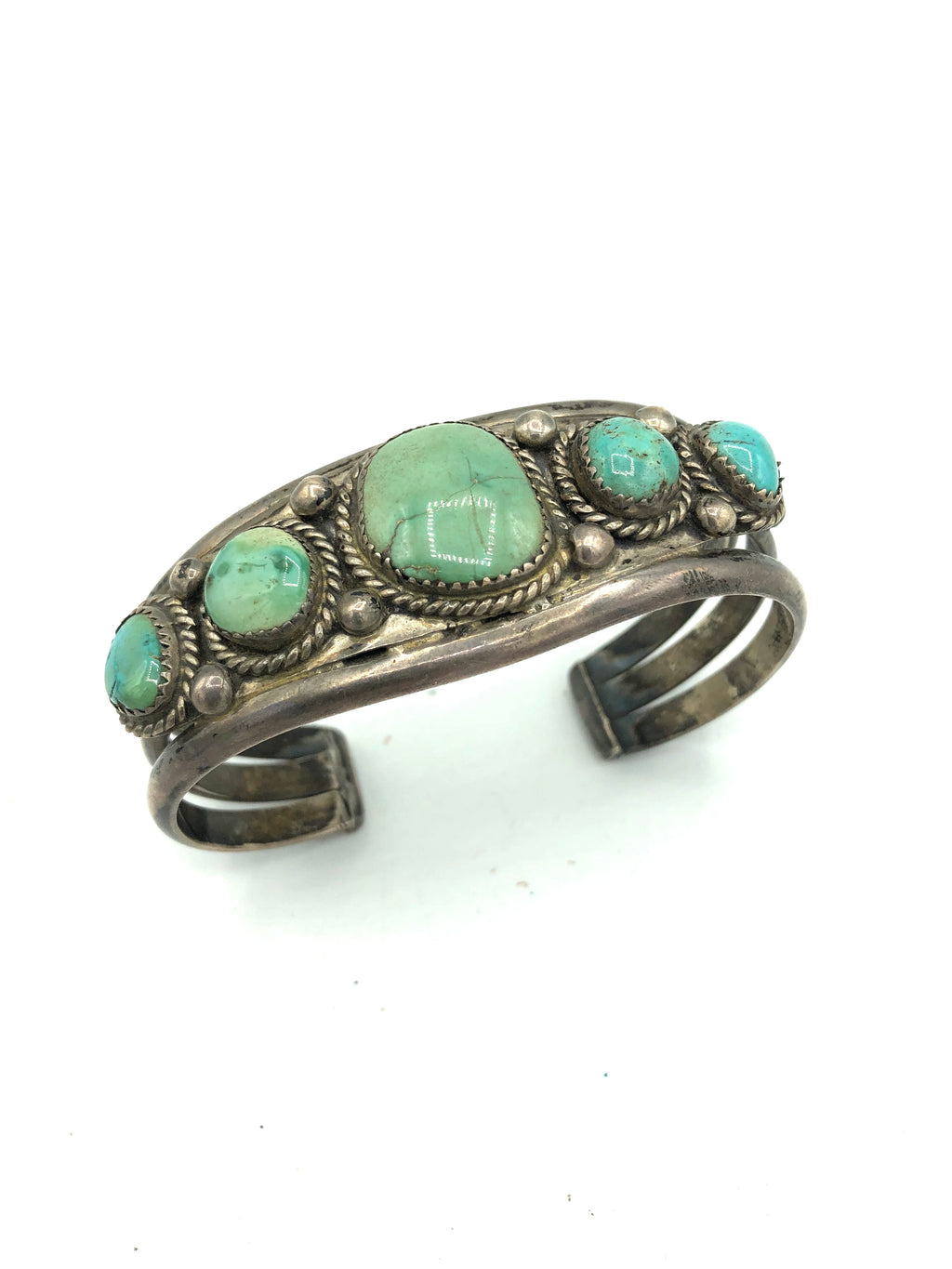 Native American Heavy Silver Cuff with Graduated Turquoise Stones 1 of 4