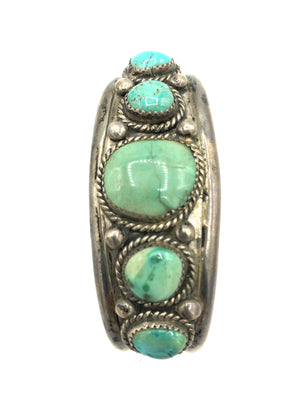 Native American Heavy Silver Cuff with Graduated Turquoise Stones 2 of 4