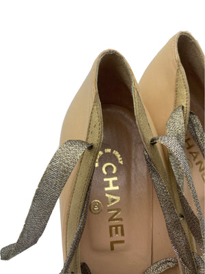 Chanel Pink Pumps with Gold Toe and Laces INTERIOR 5 of 5