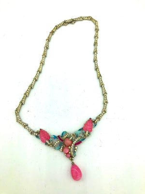 30s Delicate Deco Chromium Enamel Necklace  FRONT 1 of 5