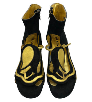 Prada 2008 Black and Gold Fairy Sandals 1 of 5