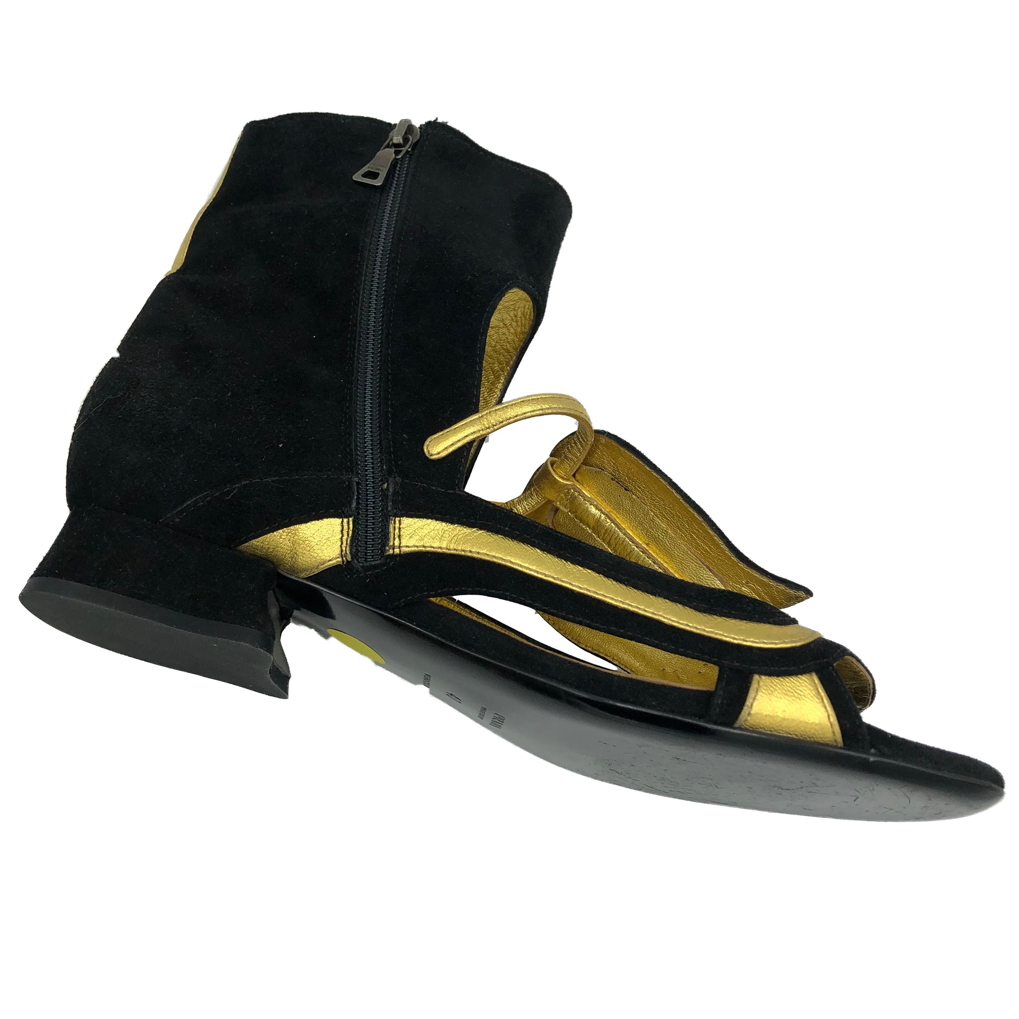 Prada 2008 Black and Gold Fairy Sandals 3 of 5
