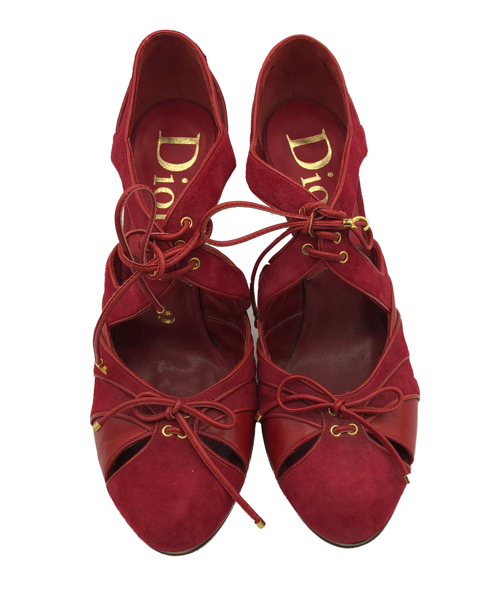 Dior Contemporary Tortoise Heeled Red Suede Shoes 1 of 6