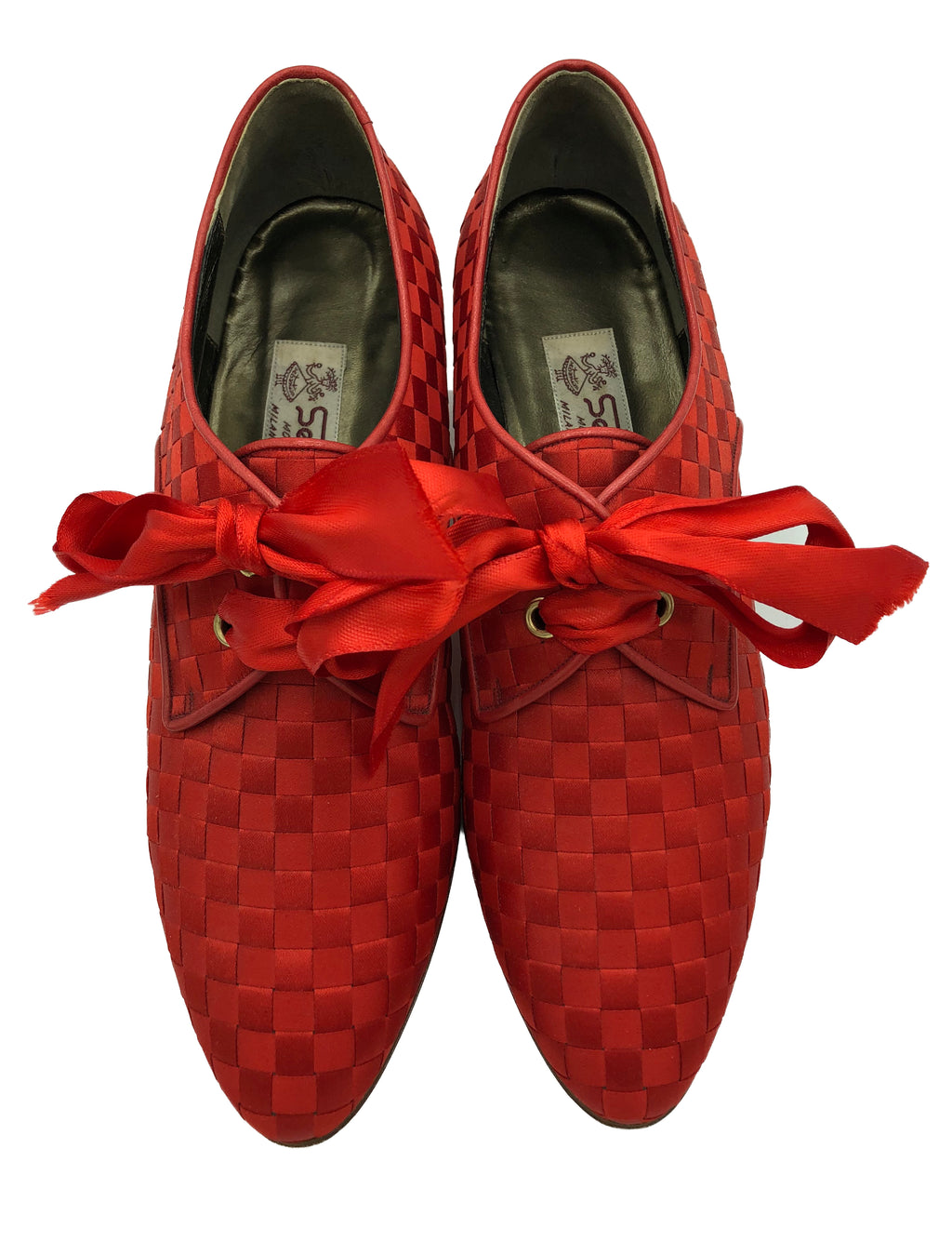 90s Red Ribbon Woven Louis Heeled Oxford Shoes 1 of 5