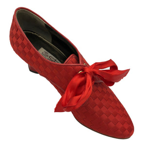 90s Red Ribbon Woven Louis Heeled Oxford Shoes 3 of 5