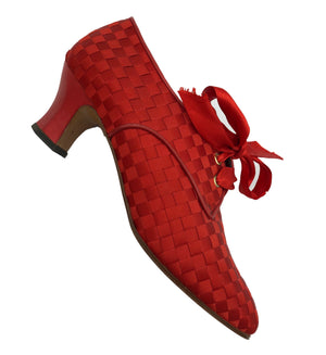 90s Red Ribbon Woven Louis Heeled Oxford Shoes 2 of 5