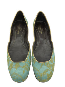 Valentino Contemporary Turquoise Satin Ballet Flats with Gold Lace Overlay 1 of 5