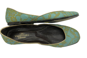Valentino Contemporary Turquoise Satin Ballet Flats with Gold Lace Overlay 2 of 5