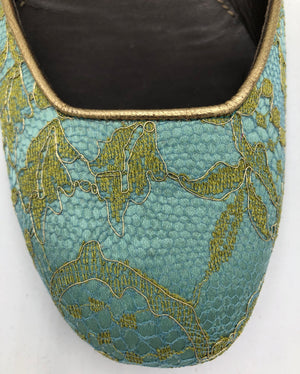 Valentino Contemporary Turquoise Satin Ballet Flats with Gold Lace Overlay 3 of 5