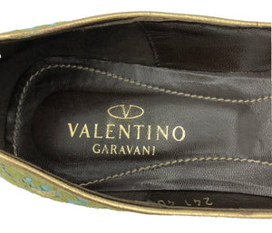 Valentino Contemporary Turquoise Satin Ballet Flats with Gold Lace Overlay 5 of 5