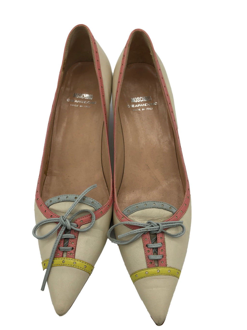 0s Moschino Cheap and Chic Pastel Kitten Heeled Pumps 1 of 4