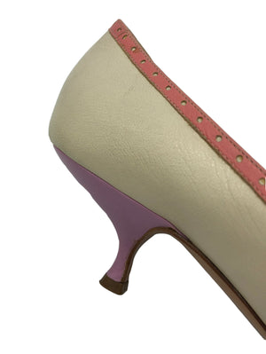 0s Moschino Cheap and Chic Pastel Kitten Heeled Pumps 3 of 4