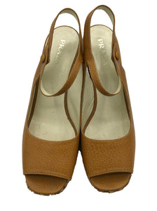 Prada Contemporary Caramel Bamboo Wedge Platforms 1 of 4