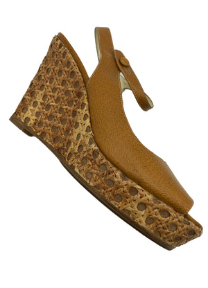 Prada Contemporary Caramel Bamboo Wedge Platforms 2 of 4