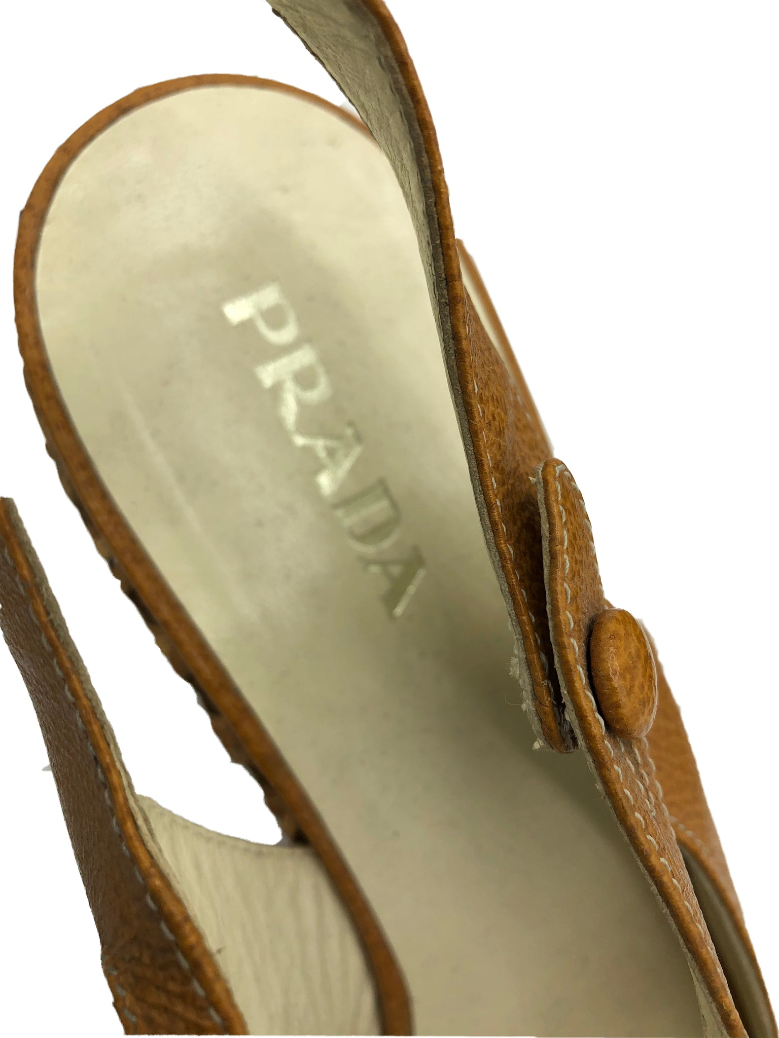 Prada Contemporary Caramel Bamboo Wedge Platforms 4 of 4