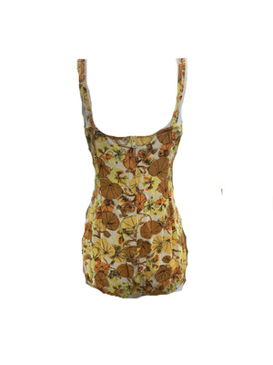 Roxanne 50s Swimsuit in Autumnal Floral Tones  BACK 2 of 5
