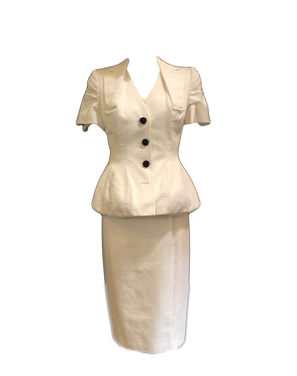 John Galliano Iconic White Pique Dress and Jacket  1 of 7