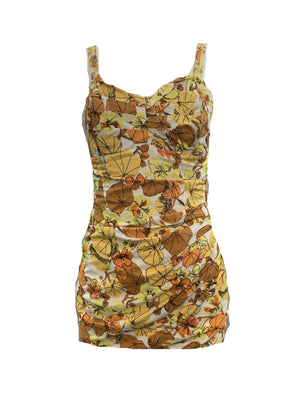 Roxanne 50s Swimsuit in Autumnal Floral Tones  FRONT 1 of 5