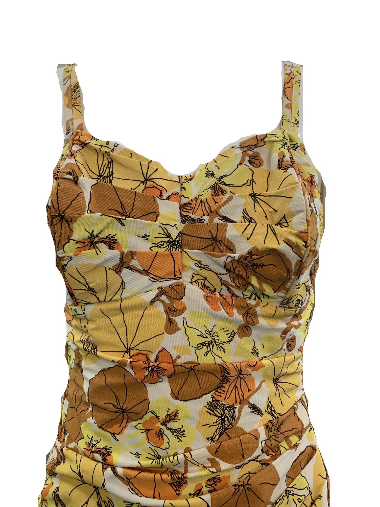 Roxanne 50s Swimsuit in Autumnal Floral Tones  CLOSE UP 3 of 5
