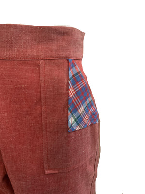 50s Red Chambray Pedal Pushers 4 of 4 POCKET DETAIL 4 of 5