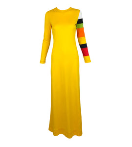 Rudi Gernreich Yellow Maxi Dress with Striped Sleeve Front 1 of 5