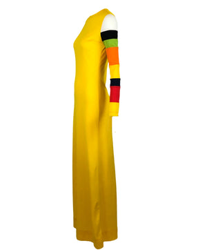 Rudi Gernreich Yellow Maxi Dress with Striped Sleeve Side 2 of 5