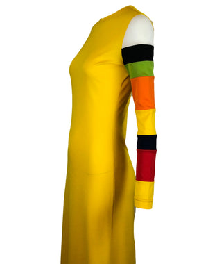 Rudi Gernreich Yellow Maxi Dress with Striped Sleeve Detail 4 of 5