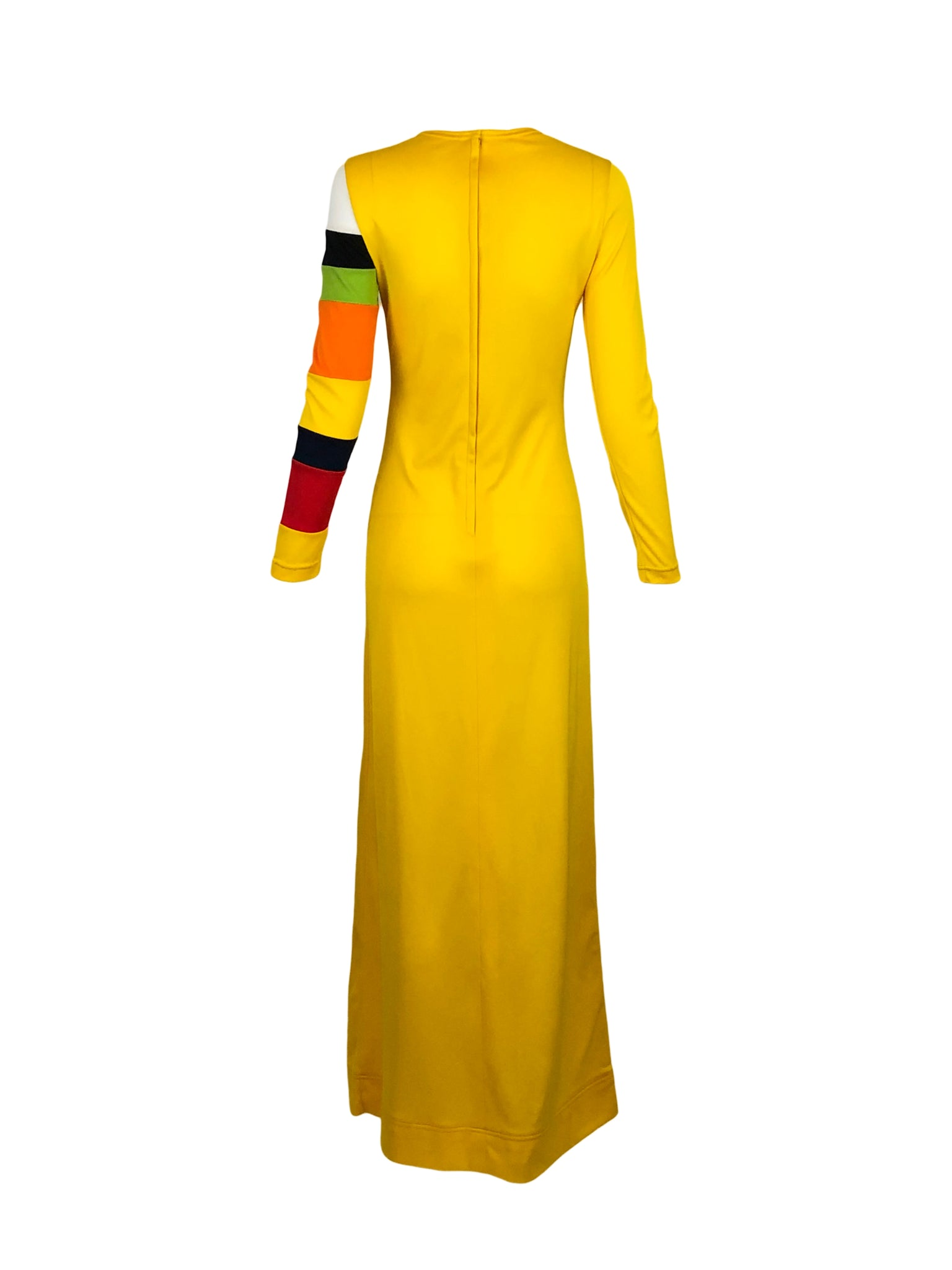 Rudi Gernreich Yellow Maxi Dress with Striped Sleeve Back 3 of 5