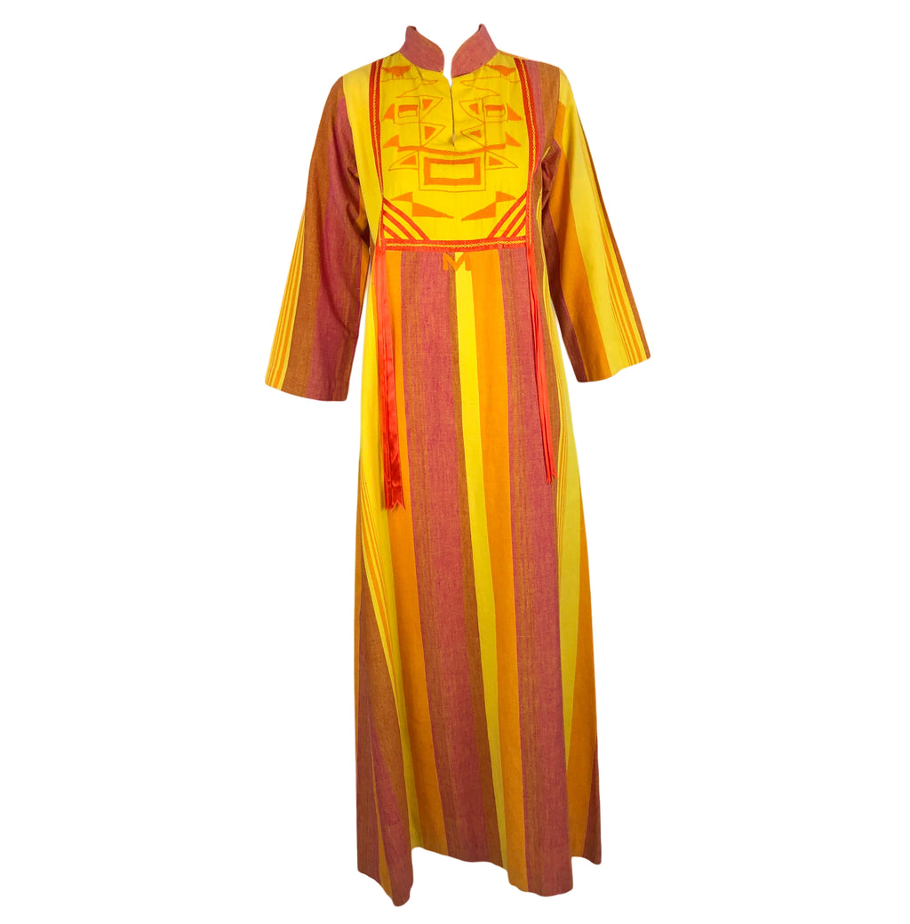 1970s Josefa Caftan in Yellows and Oranges Front 1 of 6