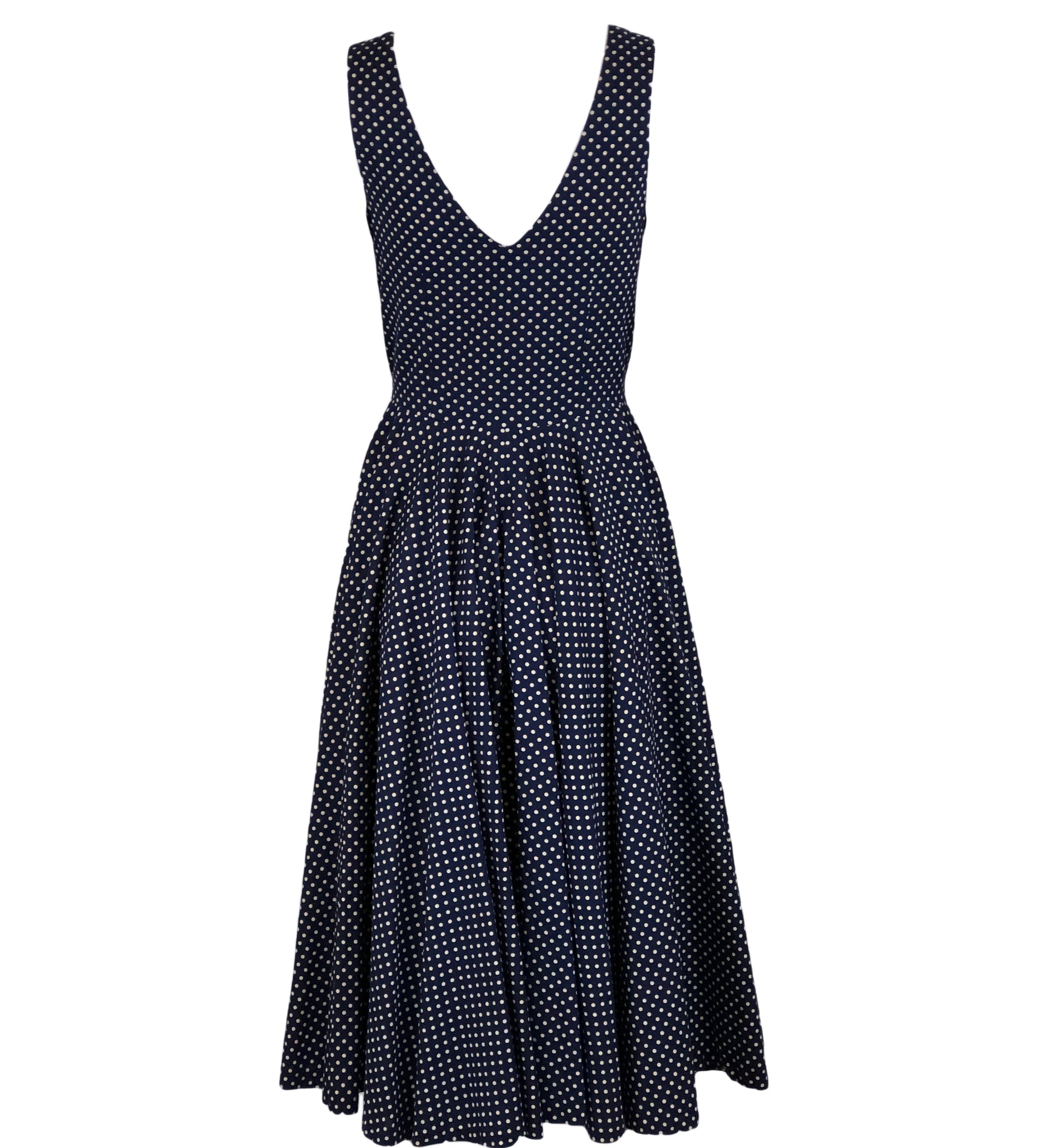 50s Blue Cotton Polka Dot Dress Back 3 of 5