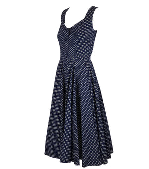 50s Blue Cotton Polka Dot Dress Side 2 of 5
