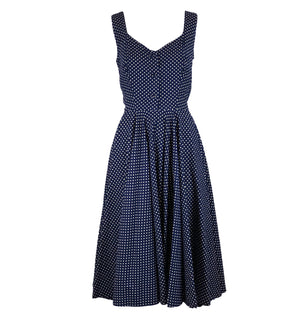50s Blue Cotton Polka Dot Dress Front 1 of 5