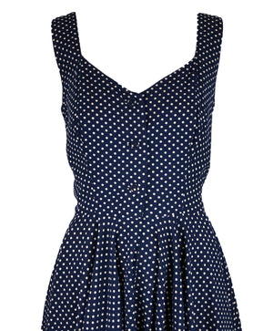 50s Blue Cotton Polka Dot Dress Detail 4 of 5