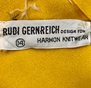 Rudi Gernreich 60s Yellow Polka Dot Maxi Dress Label 5 of 5