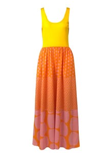 Rudi Gernreich 60s Yellow Polka Dot Maxi Dress Front 1 of 5