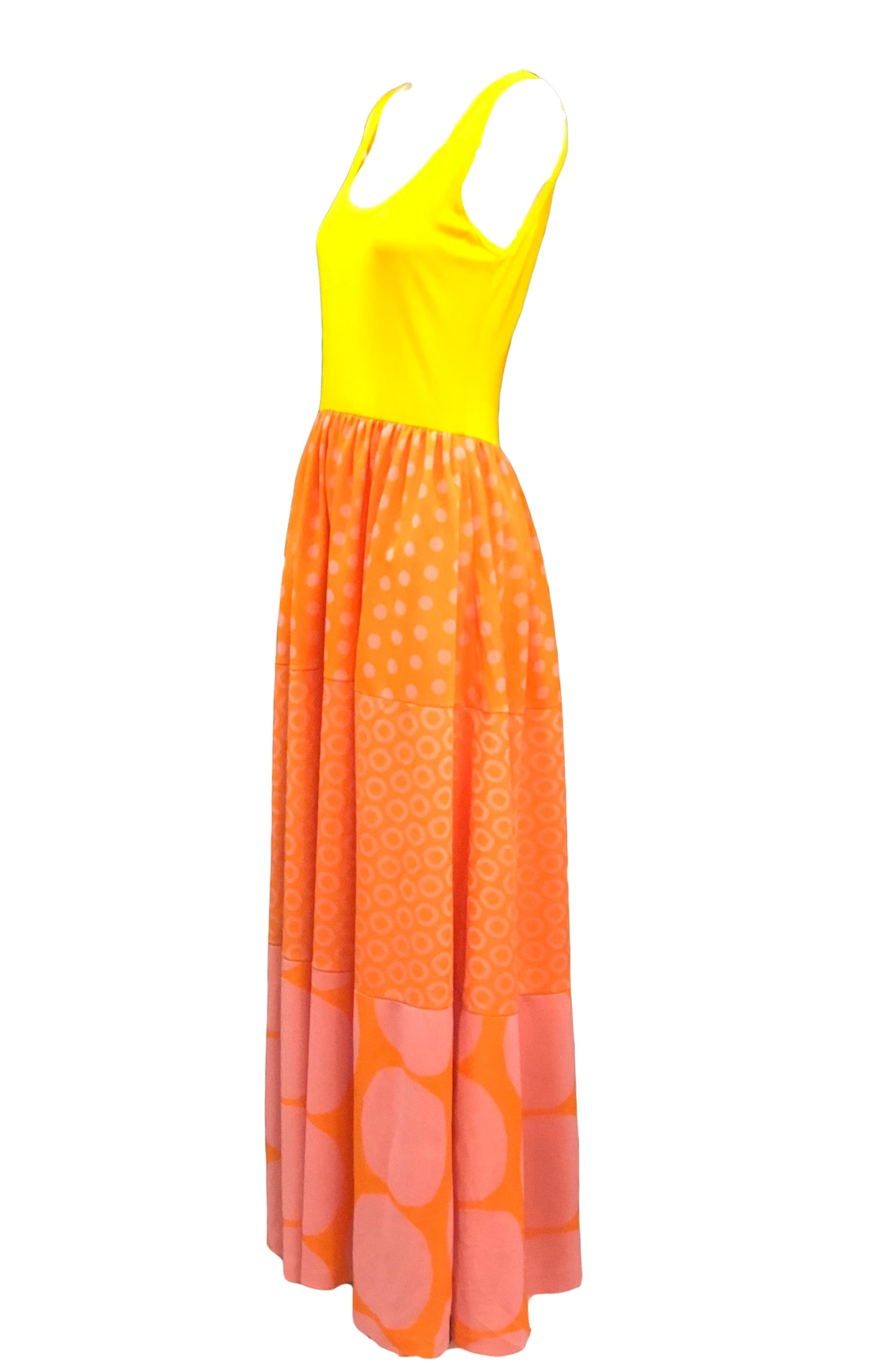 Rudi Gernreich 60s Yellow Polka Dot Maxi Dress