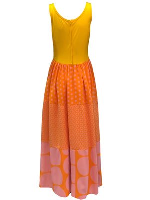 Rudi Gernreich 60s Yellow Polka Dot Maxi Dress Back 2 of 5