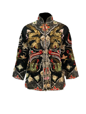 Mid Century Chinese Black Satin Sequin Jacket Front 1 of 4