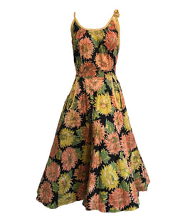 50s Cotton Summer Fit and Flare Dress with Mum Print FRONT 1 of 5