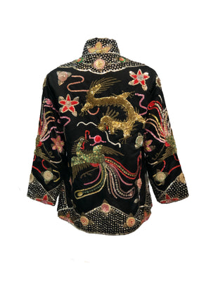 Mid Century Chinese Black Satin Sequin Jacket Back 3 of 4