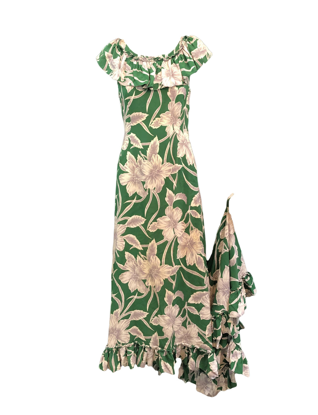 Incredible 1940s Green  Rayon Print Holoku Dress Front 1 of 7