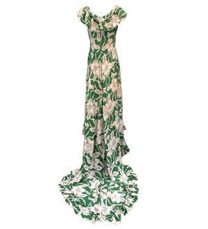 Incredible 1940s Green  Rayon Print Holoku Dress Back 3 of 7
