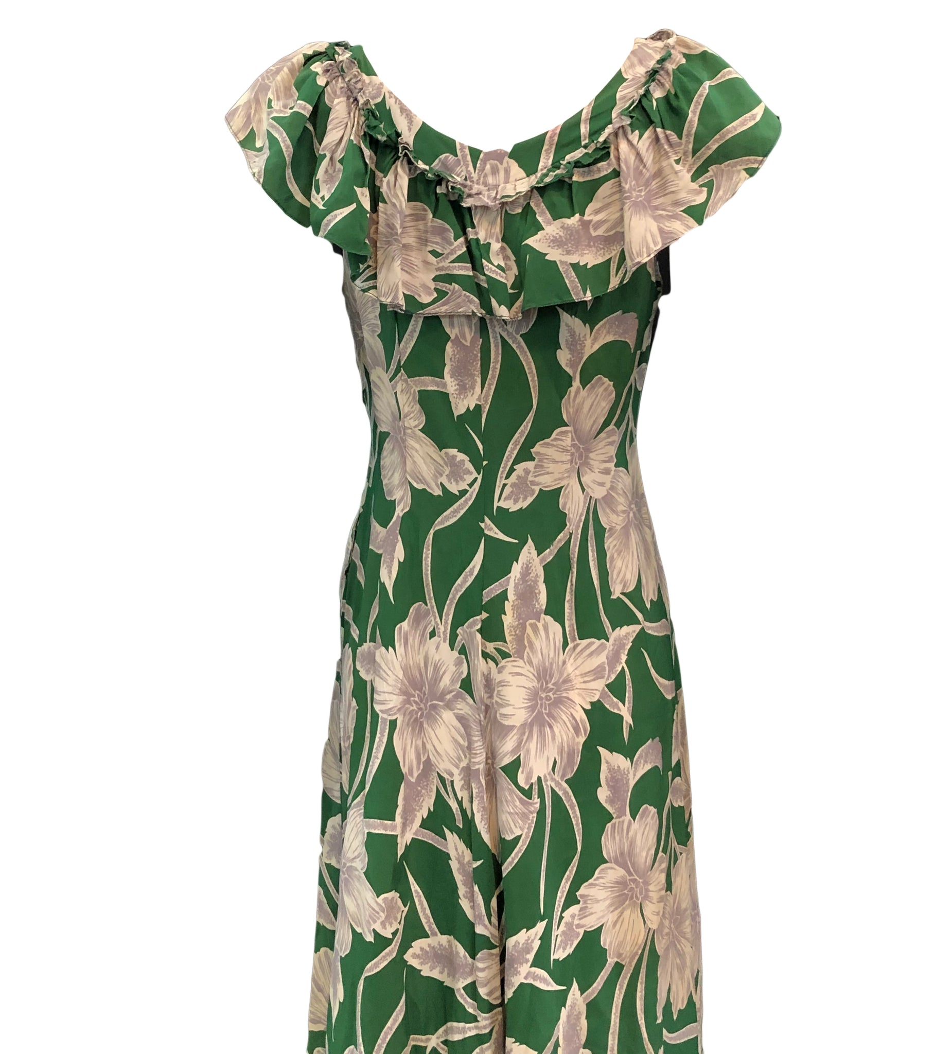 Incredible 1940s Green  Rayon Print Holoku Dress Detail A 4 of 7