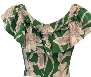 Incredible 1940s Green  Rayon Print Holoku Dress Detail B 5 of 7